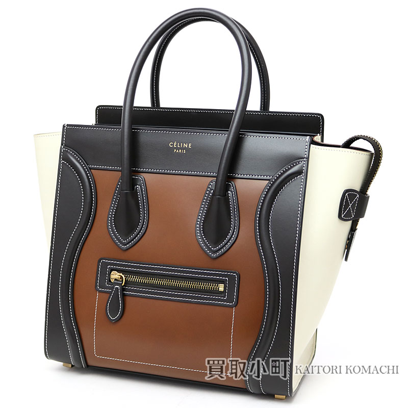 Celine Luge Micro Calfskin Chess Nuts Handbag Tote Bag Per Calf Leather