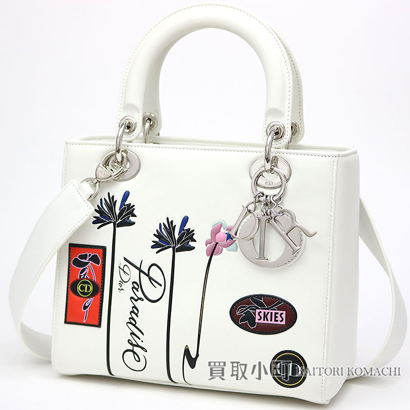 KAITORIKOMACHI  Dior lady Dior paradise medium handbag white calf ... 15337d17a89ea