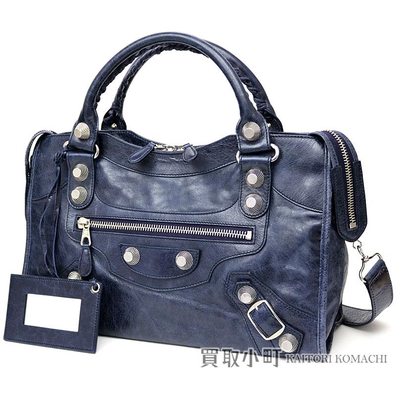 バレンシアガジャイアントシティ 12 Studs Silver Metal Ings Vintage Craft Lambskin Blue Medium Editors Bag 2way Shoulder Handbag 173084 D94jn Giant
