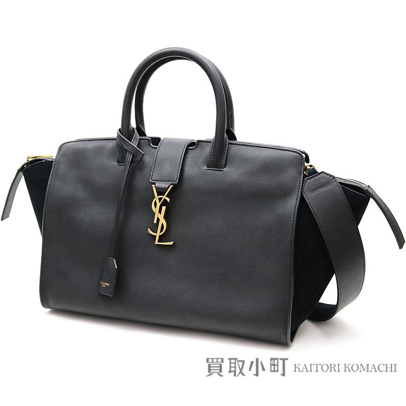 Yves Saint-Laurent monogram Saint-Laurent downtown hippopotamus soot lacing  braid black calf-leather suede YSL line 2WAY shoulder bag 436832 BJ5XW 1000  ... 70a84e9a05f7e