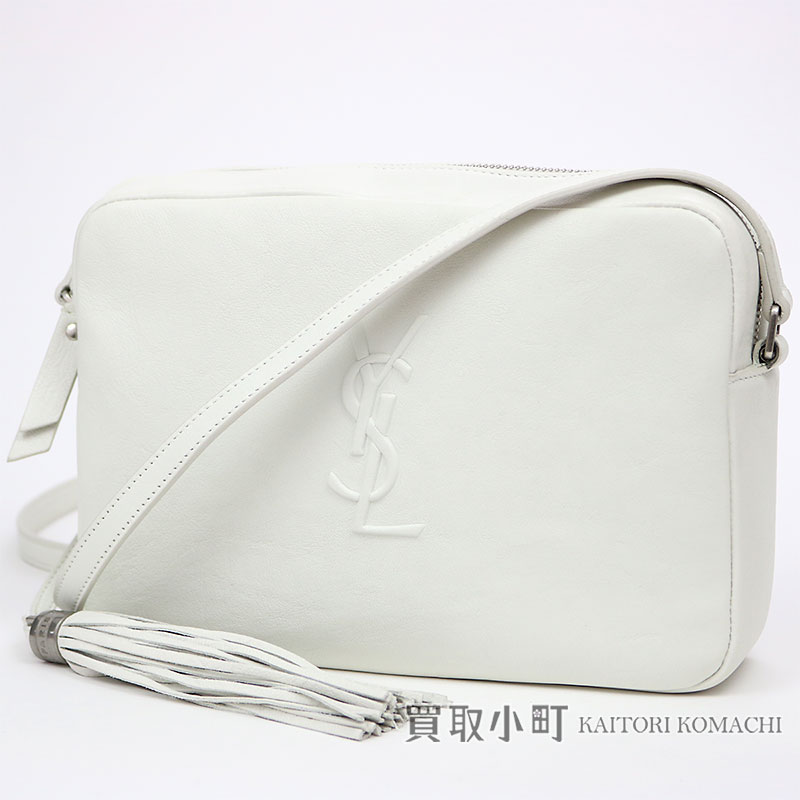 ec0be86162 Take Yves Saint-Laurent monogram Saint-Laurent roux camera bag Small white  leather tassel charm shoulder bag pochette slant  YSL logo emboss fringe  470299 ...