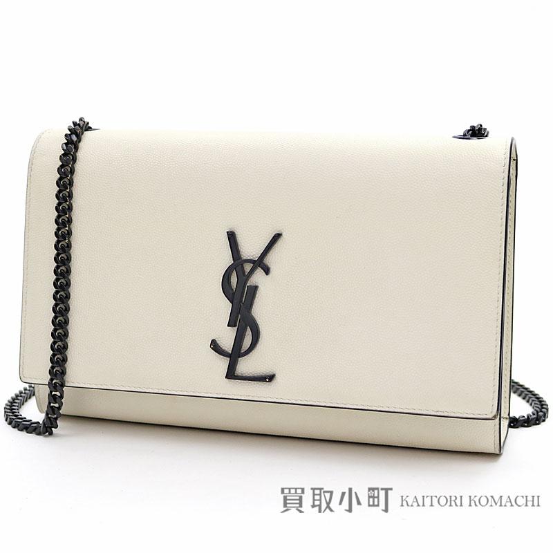 0667047fe84 KAITORIKOMACHI: Saint-Laurent classical music Kate Satchell medium white  tex Chard leather calfskin black metal fittings chain shoulder bag 364021  YSL ...