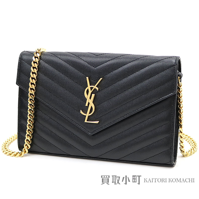 74a660ad6c9c Yves Saint-Laurent monogram Saint-Laurent chain wallet black grain powder  structure quilting leather shoulder bag pochette 377828 YSL MONOGRAM CHAIN  WALLET