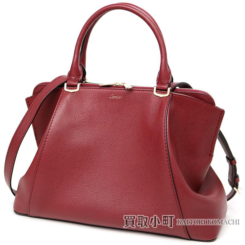 Cartier C Do Bag Sm Red Spinel Color Avian Yong Leather Gold Finish 2way Shoulder Handbag Tote L1001829 De Small Model