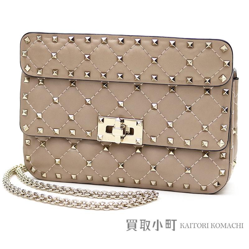 Take Valentino Garavani lock studs spikes Small chain bag powder lambskin  2WAY shoulder bag crossbody slant  stud bolt tack MW0B0123NAP Small  Rockstud Spike ...