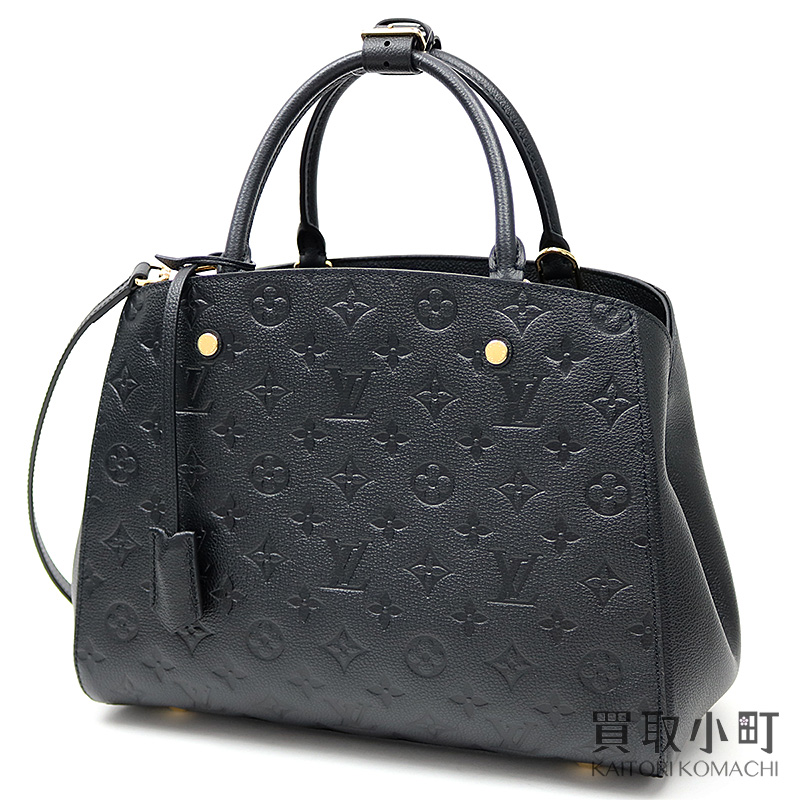 00028476 Louis Vuitton M41048 Montaigne MM モノグラムアンプラントノワール 2WAY shoulder tote bag  oar leather black LV MONTAIGNE MM MONOGRAM EMPREINTE NOIR