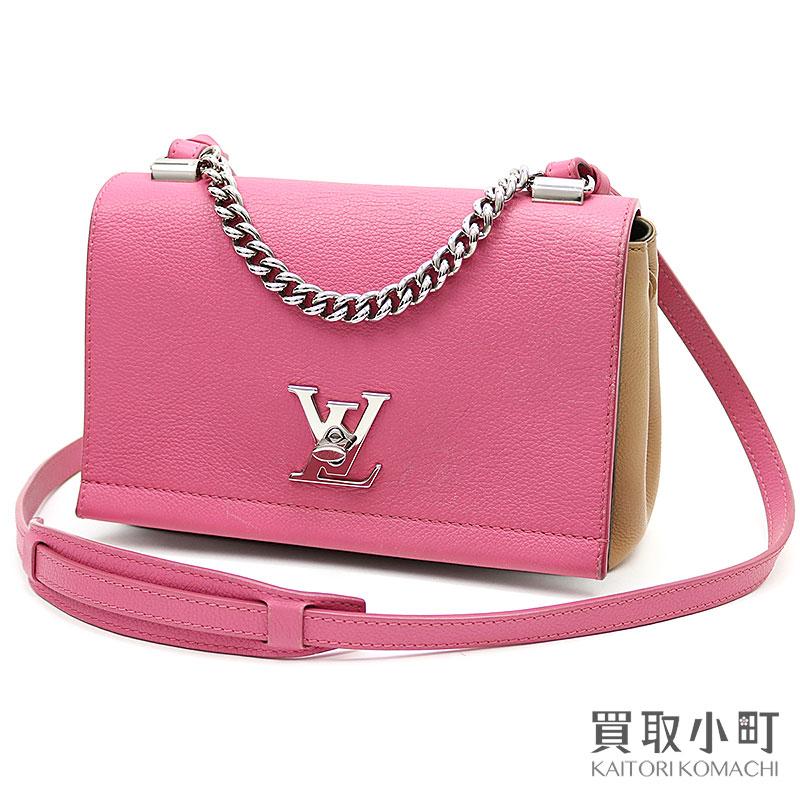 4c04335b850 KAITORIKOMACHI: Take Louis Vuitton M54103 lock me II BB  ローズカーキトリコロールソフトカーフパルナセア LV logo twist lock 2WAY shoulder bag slant; ...