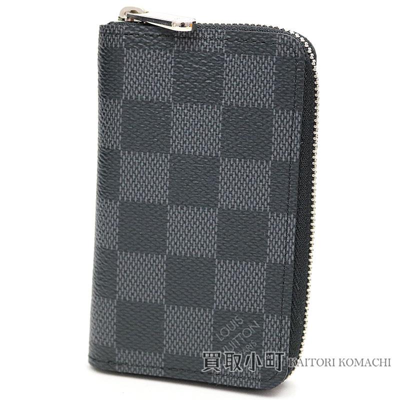 Louis Vuitton N63076 ジッピーコインパースダミエグラフィットラウンドファスナーコインケースカードケース coin purse  wallet サイフジッピーコインパースメンズ LV ... 6d4c189722457