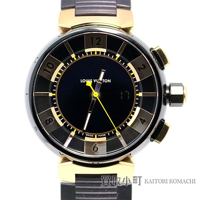 【美品】ルイヴィトン 【LOUIS VUITTON】 タンブール インブラック クロノグラフ 18Kピンクゴールド ラバーベルト メンズウォッチ 男性用腕時計 Q118N0 LV TAMBOUR IN BLACK QZ PG×SS CHRONOGRAPH WATCH【Aランク】【中古】