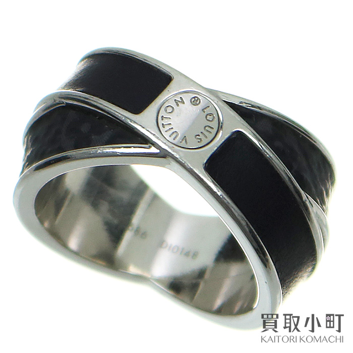 49b654a6 Louis Vuitton M62686 Bergh entree rack monogram eclipse large size men zouk  loss double ring black accessories ring LV MONOGRAM ECLIPSE RING #62