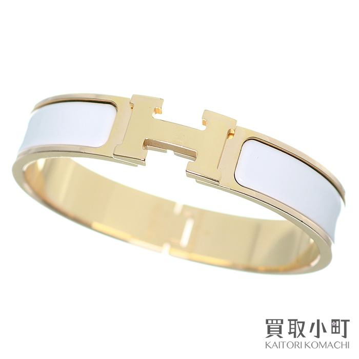 86f14ca851b Hermes click H PM enamel bracelet white pink gold play Ted bangle click  Ashe click crack ...
