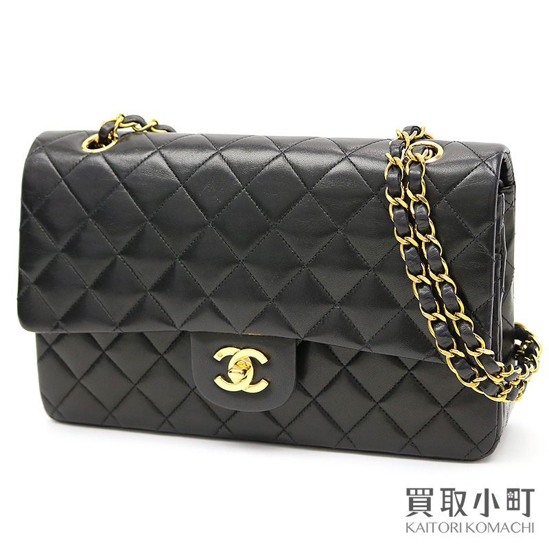 a1d1bc769626 Chanel matelasse 25 classic flap bag black lambskin medium W chain shoulder  bag constant seller W フラップココマークツイストロックヴィンテージニ 重蓋 A01112 ...