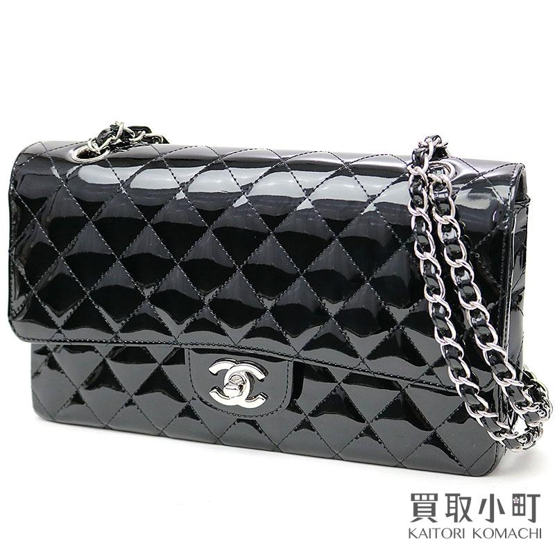 23d2b73ede08b1 KAITORIKOMACHI: Chanel matelasse 25 classic flap bag black patent leather  black metal fittings ミディアムダッブルフラップ W chain shoulder constant seller ...