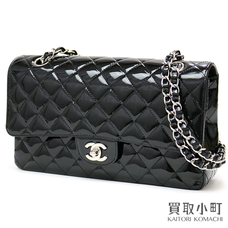 7ac3a5658c71 Chanel matelasse 25 classic flap bag black patent leather silver metal  fittings ミディアムダッブルフラップ W chain shoulder constant seller ココマーク ...