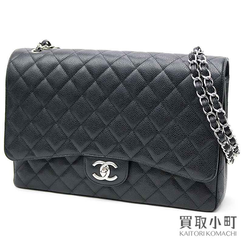 Chanel Matelasse 34 Classic Maxi Flap Bag Black Caviar Skin W Chain Shoulder Constant Er チェーンバッグココマークダブルフラップニ 重蓋 Large A58601 14