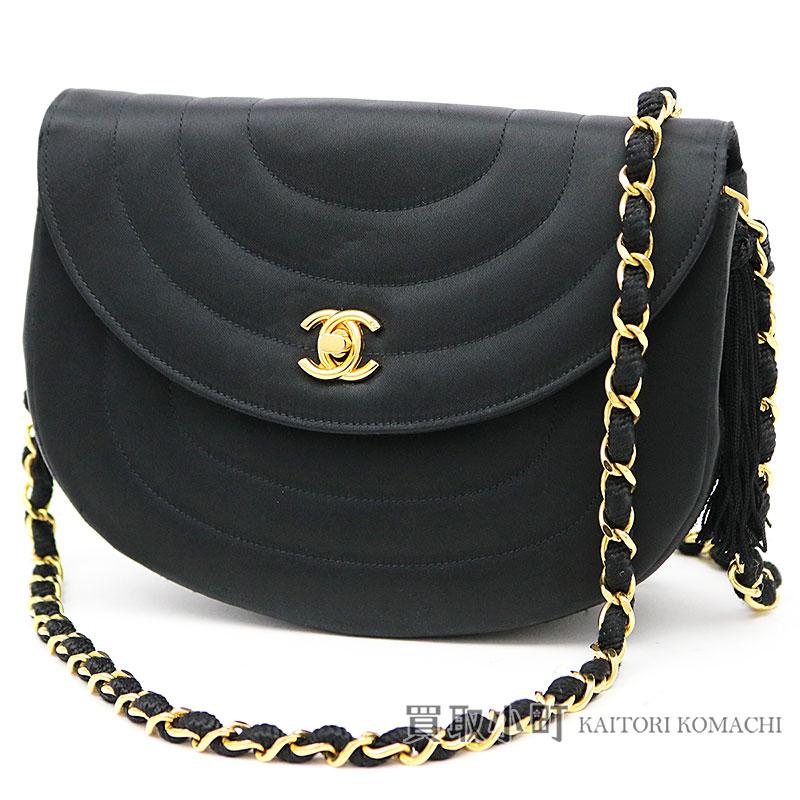 04b753ae98a KAITORIKOMACHI: Take Chanel chain shoulder bag black silk satin round stitch  tassel charm here mark twist lock classical music vintage fringe slant; ...