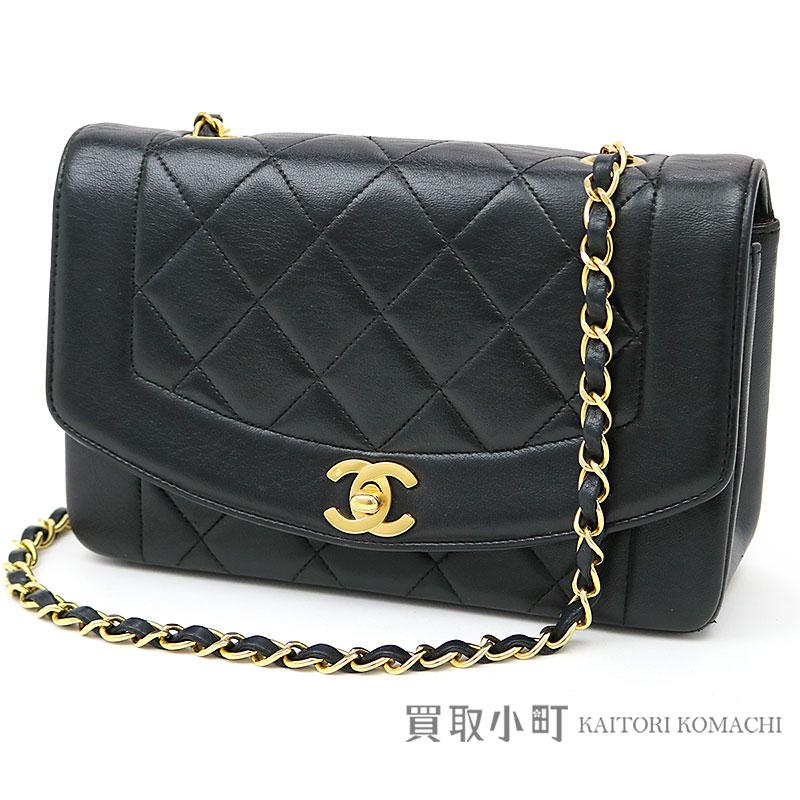 bbea951e6d80 KAITORIKOMACHI: Take Chanel matelasse classical music flap bag black  lambskin CC mark twist lock chain shoulder slant; Diana vintage A01164 #02  CLASSIC ...