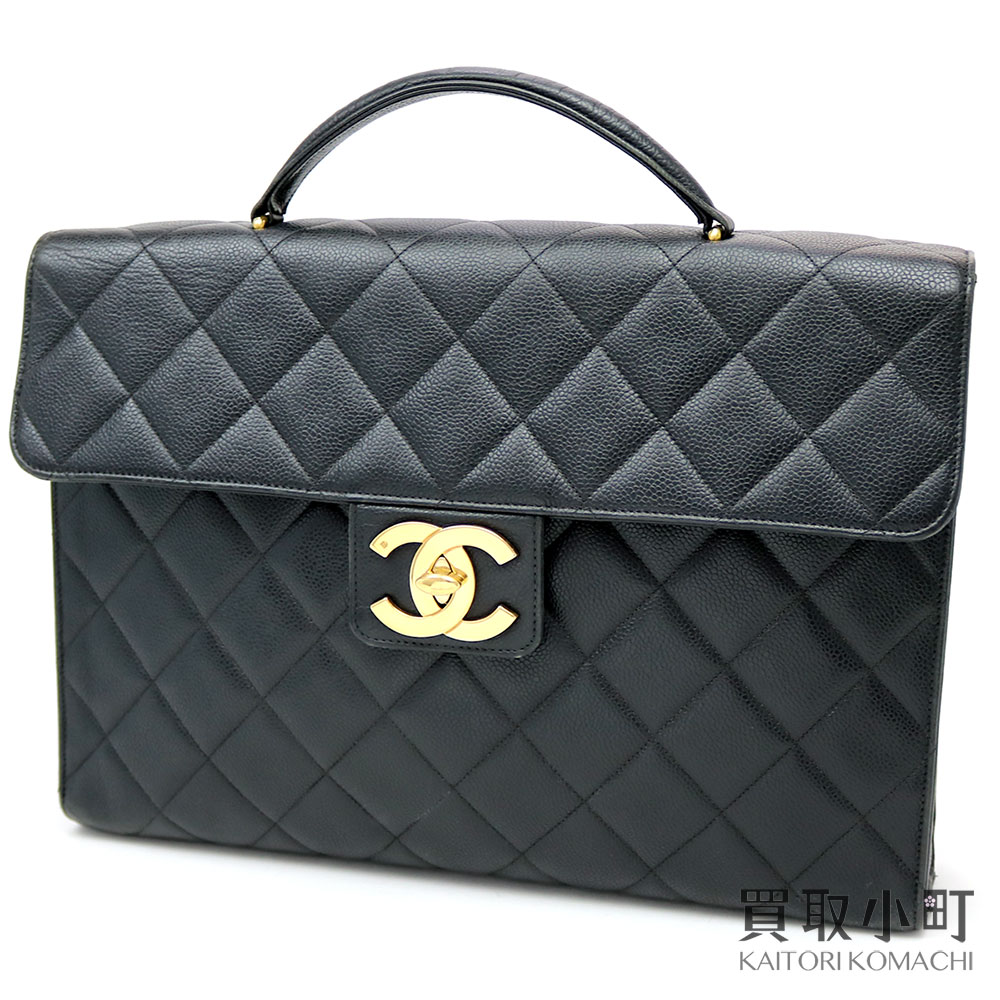 d201462a801f KAITORIKOMACHI: Chanel caviar skin briefcase black gold metal fittings here  mark twist lock business case business bag handbag matelasse quilting  vintage ...