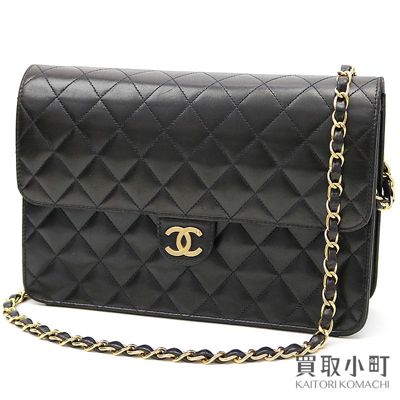 dba77b373661 KAITORIKOMACHI: Chanel matelasse chain shoulder bag black lambskin  classical music here mark flap bag clutch quilting vintage A03570 #5 Classic  Flapbag ...