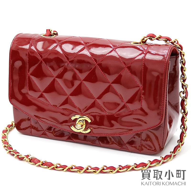 42d561638cf1 KAITORIKOMACHI: Take Chanel matelasse classical music flap bag red patent  leather here mark twist lock chain shoulder slant; Diana vintage A01164 #02  ...