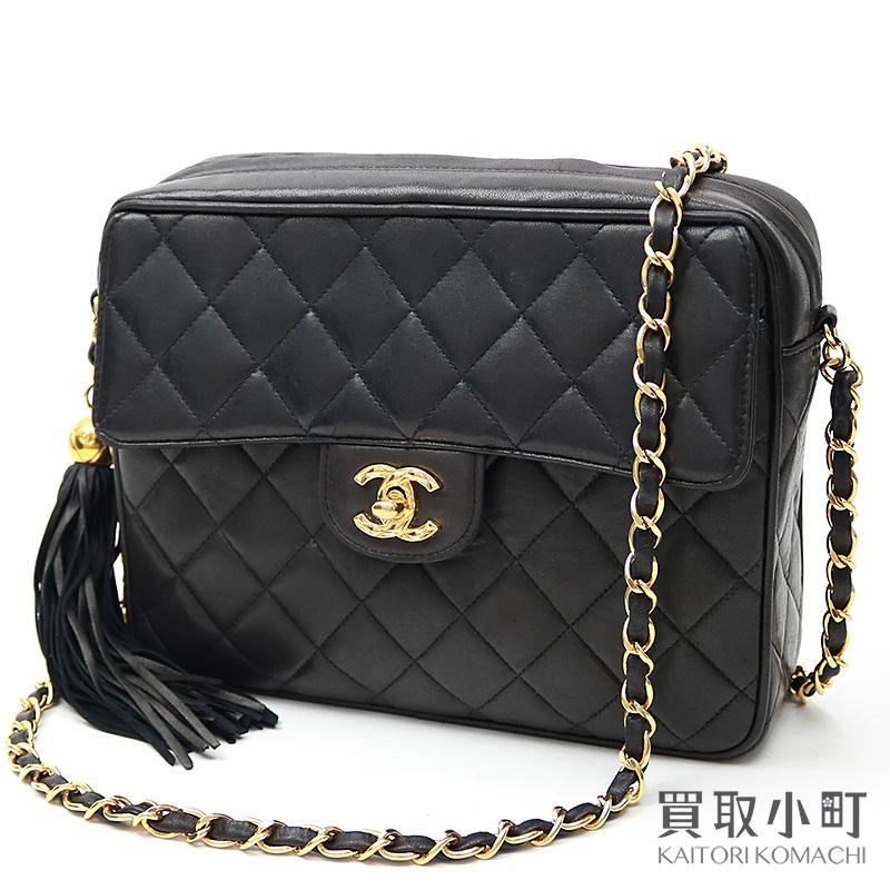 ef17ebed689 Chanel matelasse tassel charm chain shoulder bag black lambskin here mark  twist lock flap fringe classical music x vintage #02 Classic Chain Shoulder