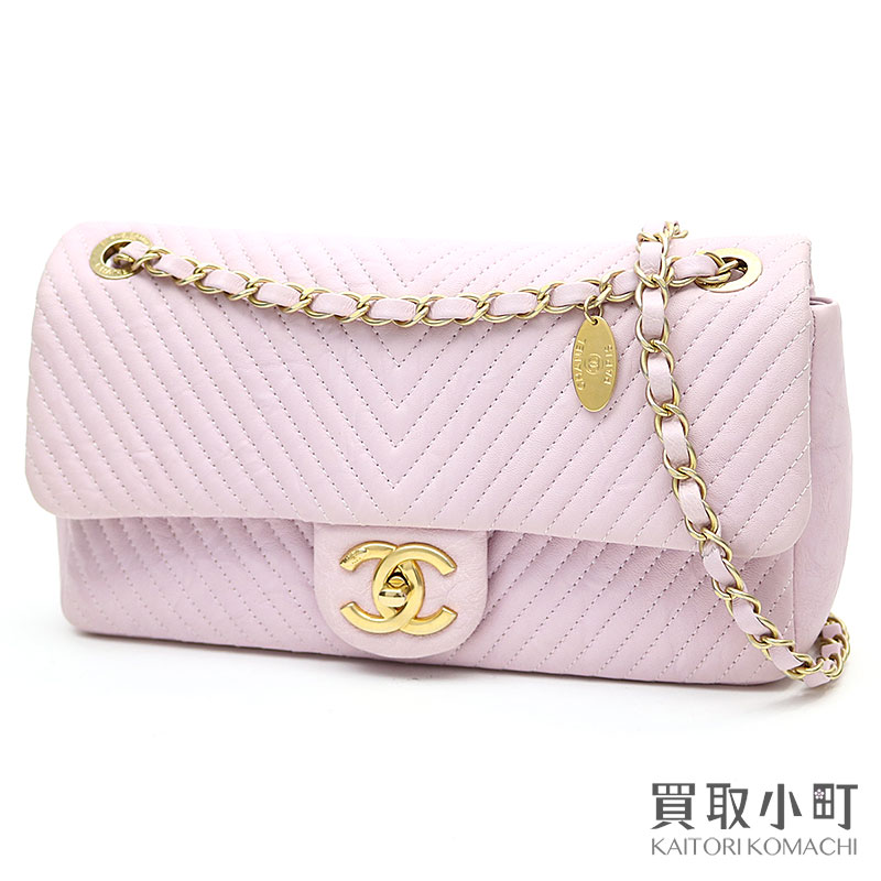8fae3b0e59 KAITORIKOMACHI: Chanel Chevron flap bag pink leather medium W chain  shoulder bag here mark twist lock classical music matelasse quilting V  stitch A92087 #21 ...