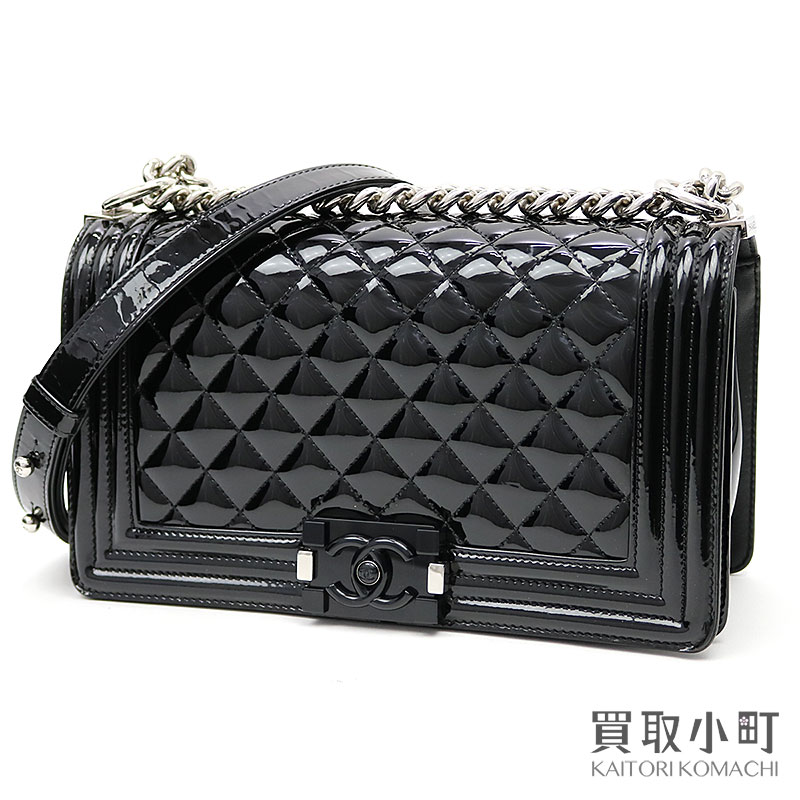 56075b250d3d KAITORIKOMACHI: Chanel boy Chanel flap bag patent leather black silver  metal fittings medium chain shoulder bag chain bag quilting enamel A67086 |  Rakuten ...