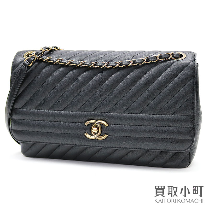 30d692366602 Take Chanel quilting flap bag black medium W chain shoulder slant; diagonal  stitch here mark ...