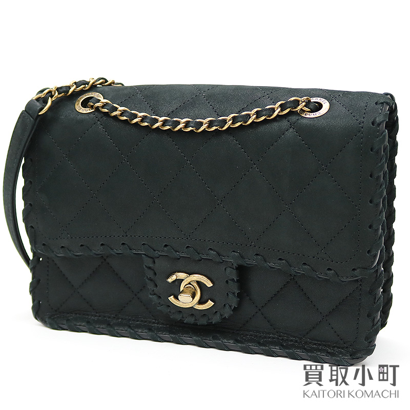 aa1d86850119 KAITORIKOMACHI: Chanel interchange race leather trim flap bag black velvet  calf classical music W chain shoulder bag matelasse quilting #20 A92875 ...