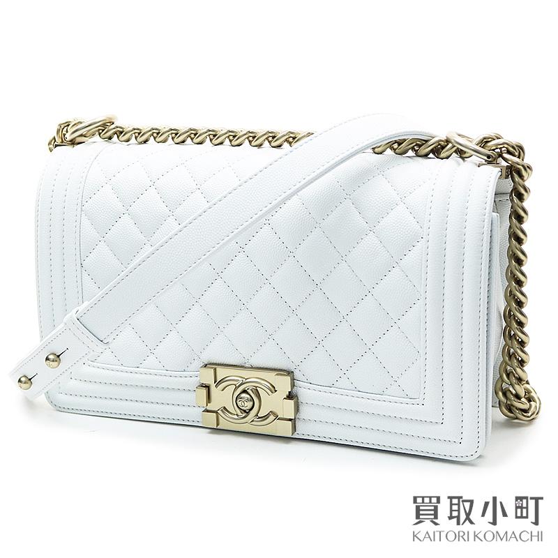 Take Chanel Boy Flap Bag White Caviar Skin Medium Chain Shoulder Slant Quilting Matelasse A67086 27 Leather