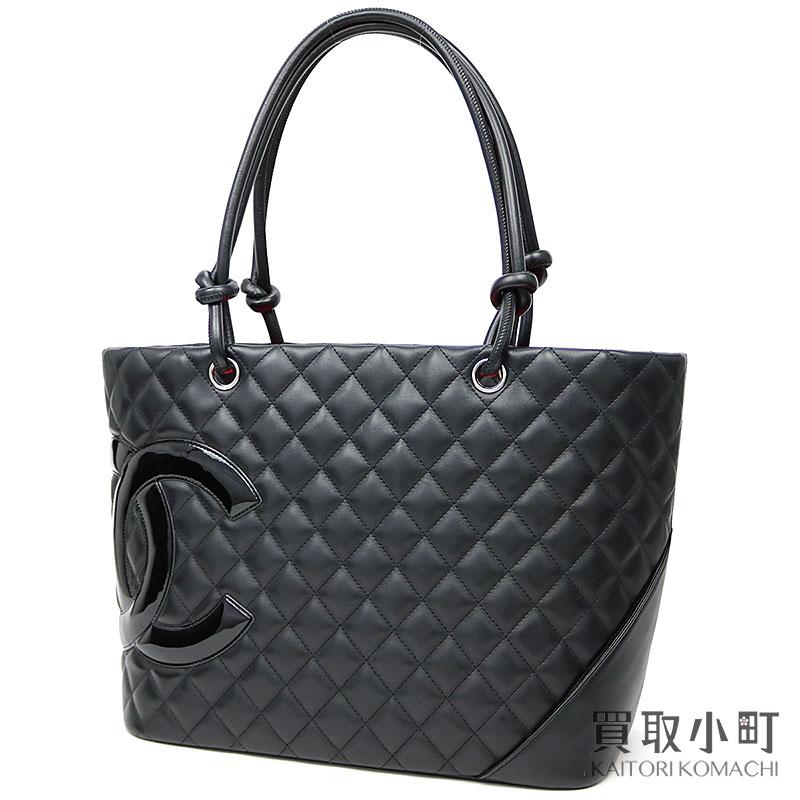 KAITORIKOMACHI  Chanel Cambon line large tote bag black enamel logo ... 2787f77006ce5