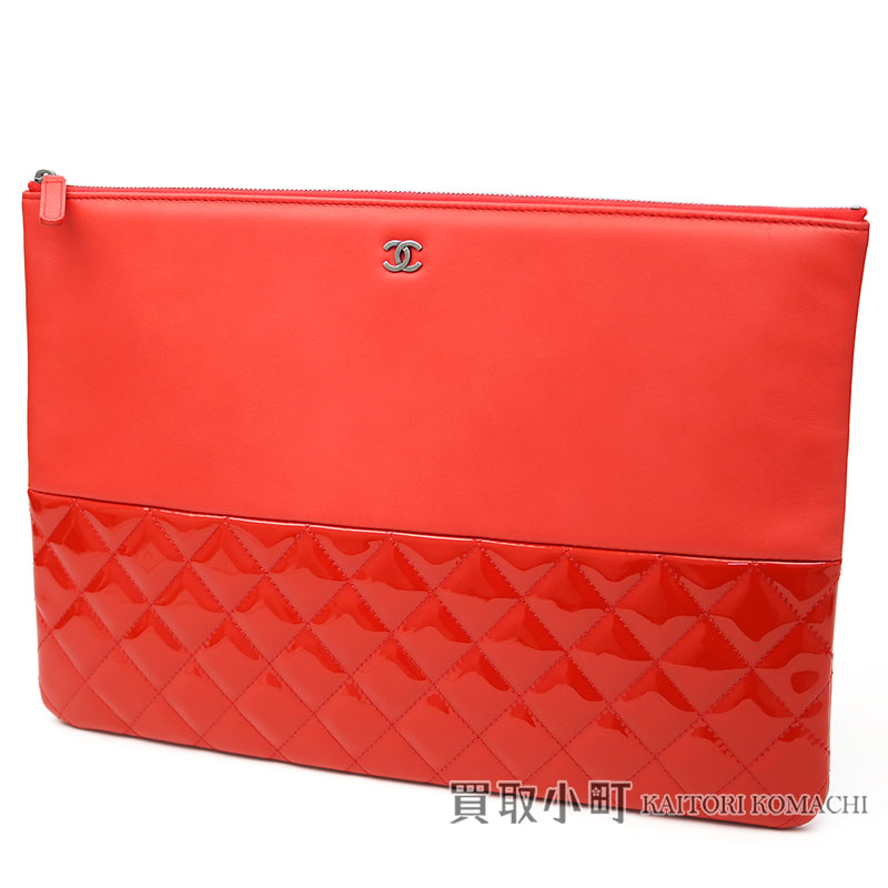 77646d42d552 Chanel matelasse clutch bag red patent leather X lambskin here mark quilting  document case large porch  19 CLASSIC LARGE CLUTCH RED LAMBSKIN AND PATENT  ...