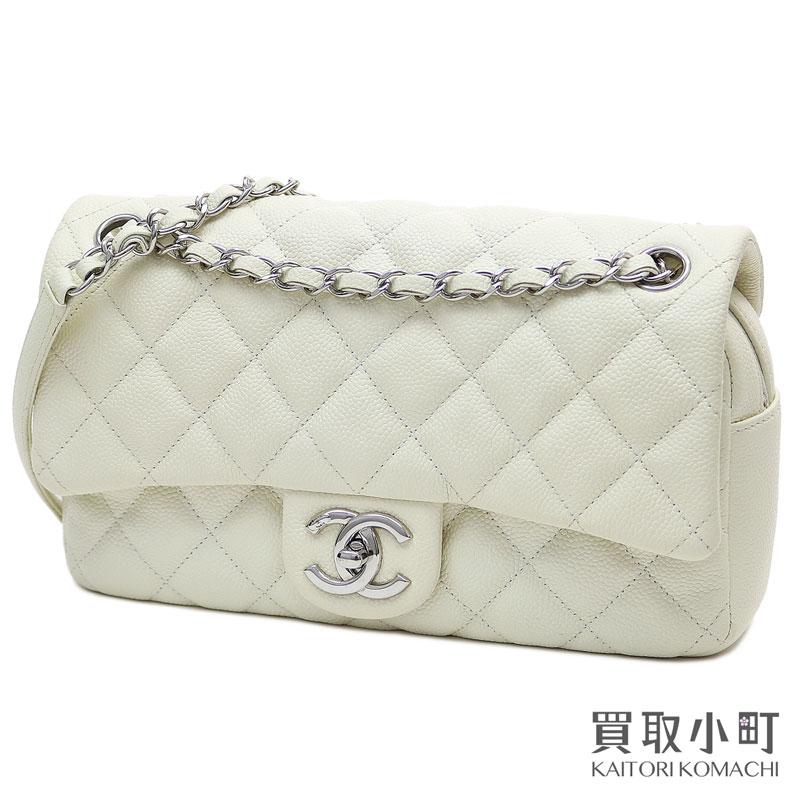 835144e9761f KAITORIKOMACHI  Chanel easy chain flap bag caviar skin ivory ...