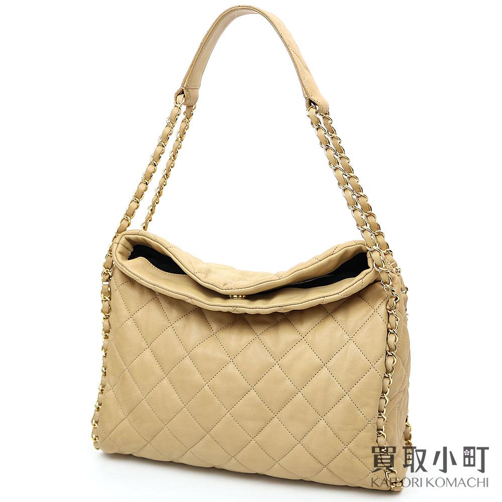 55a8c7ad1bdb KAITORIKOMACHI  Chanel chain me quilting Ho baud bag beige calfskin ...