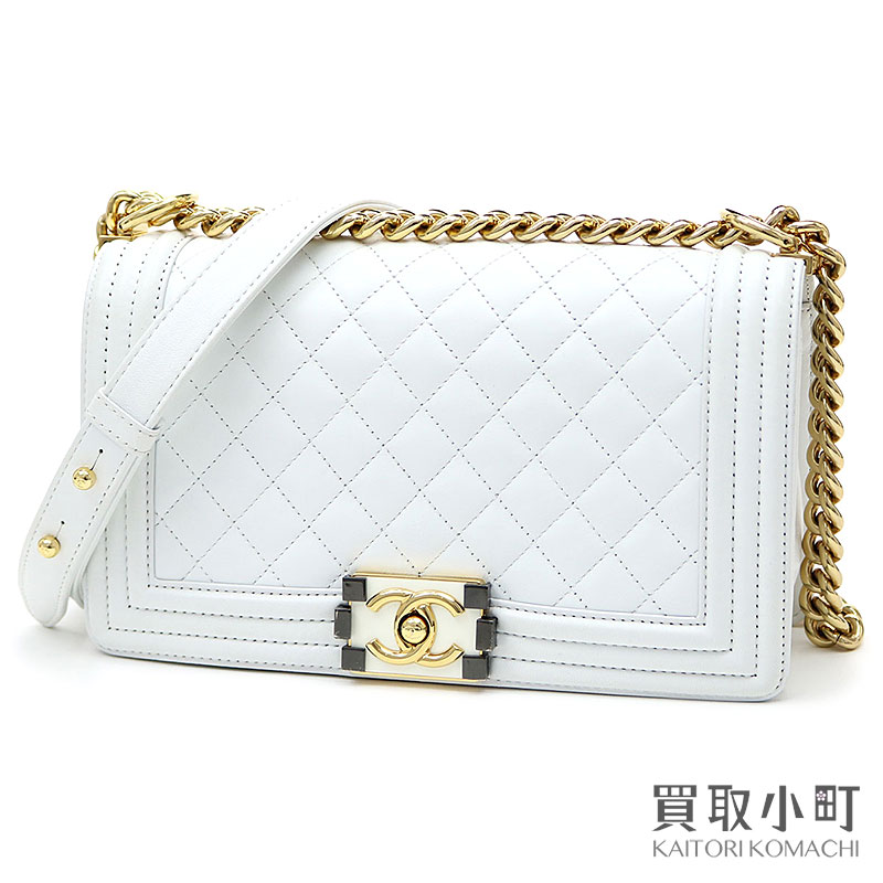 b24dc542ebdd0b KAITORIKOMACHI: Take Chanel boy Chanel flap bag white calfskin medium chain  shoulder slant; quilting A67086 #18 Boy Chanel Flap Bag White leather |  Rakuten ...