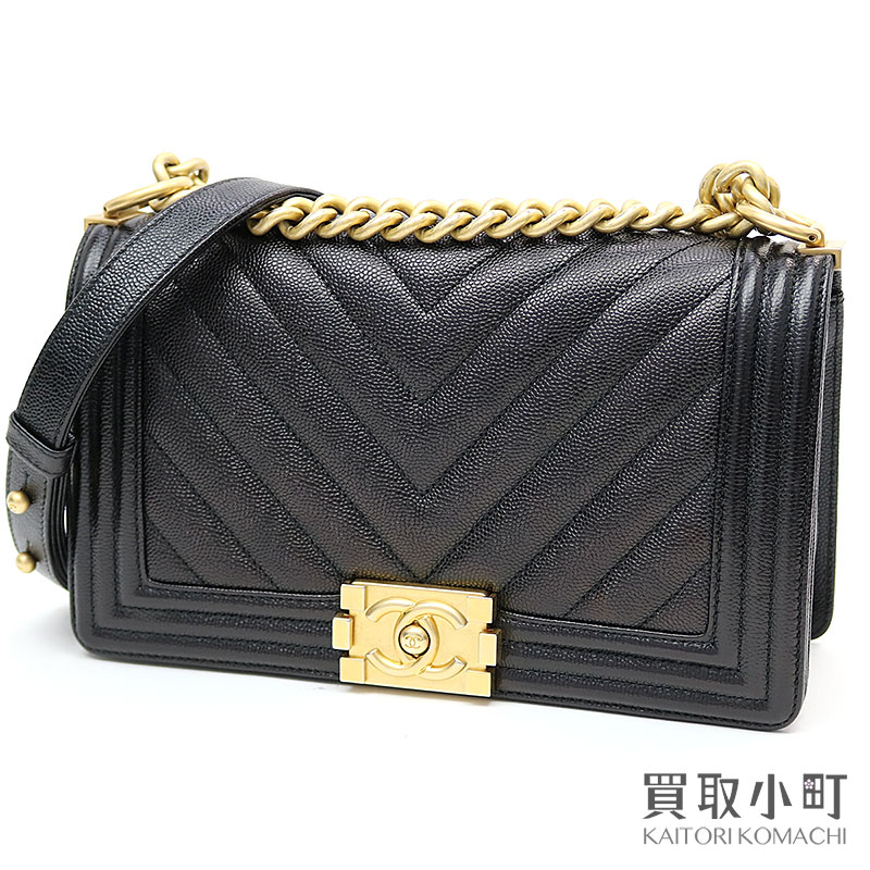 ec274ce872fa ... Chanel boy Chanel caviar skin Chevron flap bag black medium chain  shoulder slant; quilting V stitch A67086 #24 Boy Chanel Flap Bag leather |  Rakuten ...