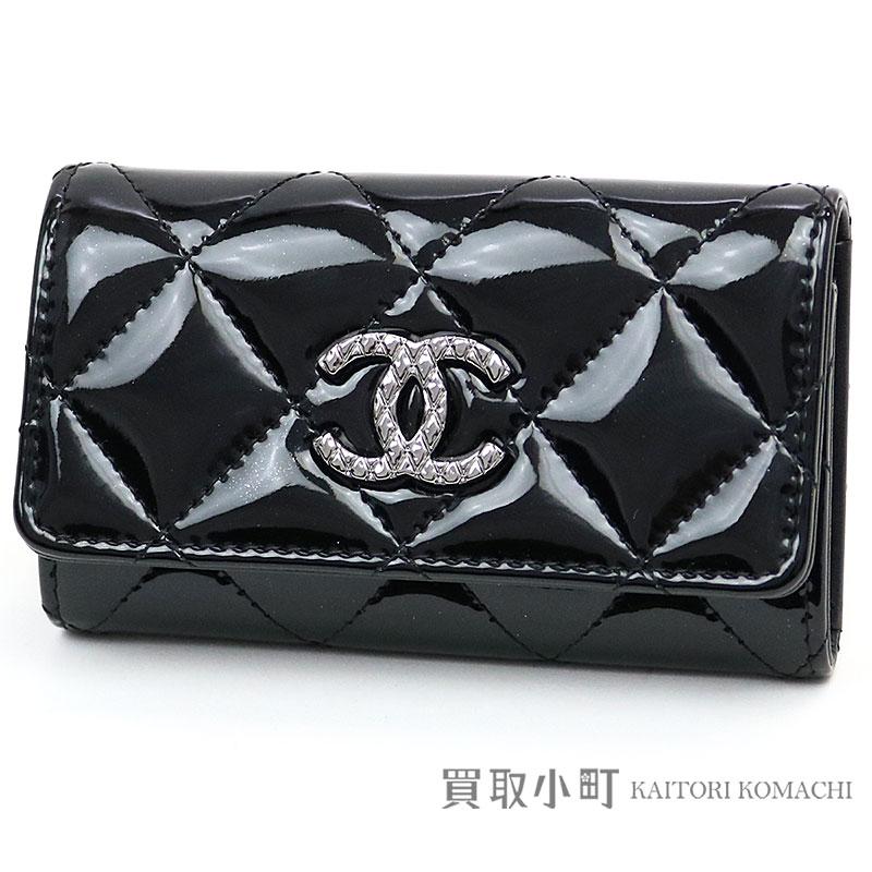 fe31ca5573 Chanel brilliant key case six black patent leather key ring key ring  classical music matelasse here mark A68948 #21 BRILLIANT CC