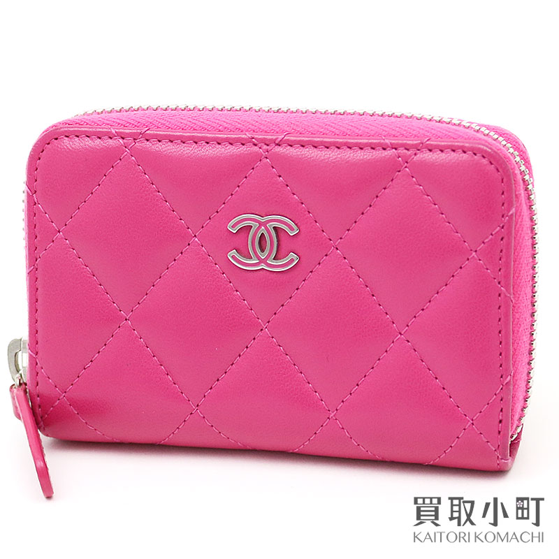 c23103b78e60 KAITORIKOMACHI: Chanel quilting round zip coin Perth pink lambskin CC mark  thyme reply classical music coin case card case matelasse here mark wallet  wallet ...