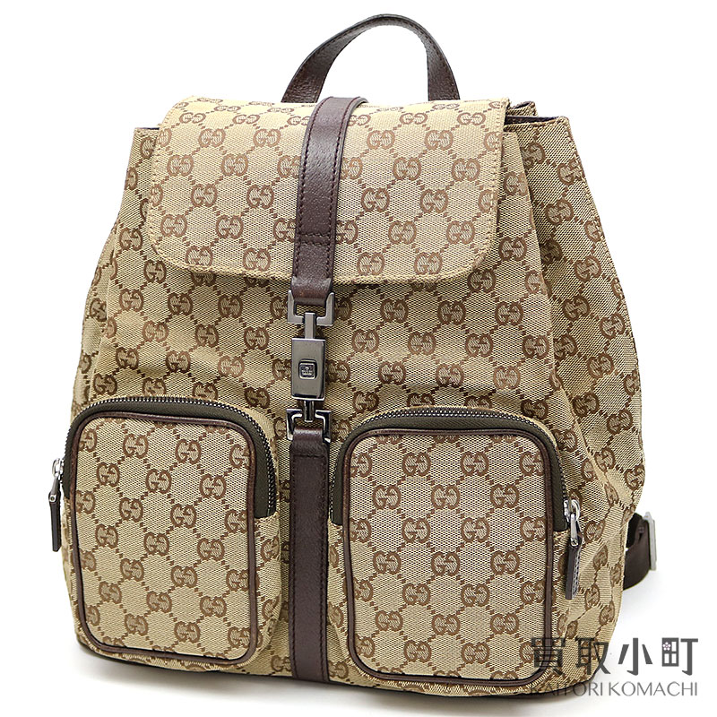 d3b34c4084c18 KAITORIKOMACHI  Gucci Jackie GG canvas backpack beige X dark brown rucksack  day pack Lady s 114552 GG CANVAS BACK PACK