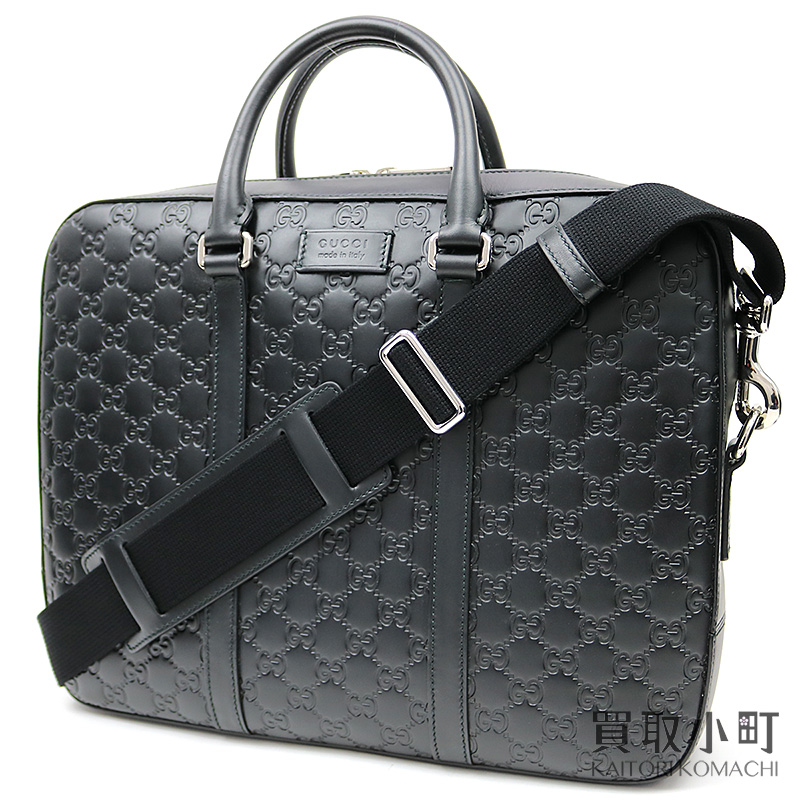022ffb2f9 435322 Gucci Gucci signature briefcase black GG emboss calfskin zip top  2WAY shoulder business bag dispatch ...