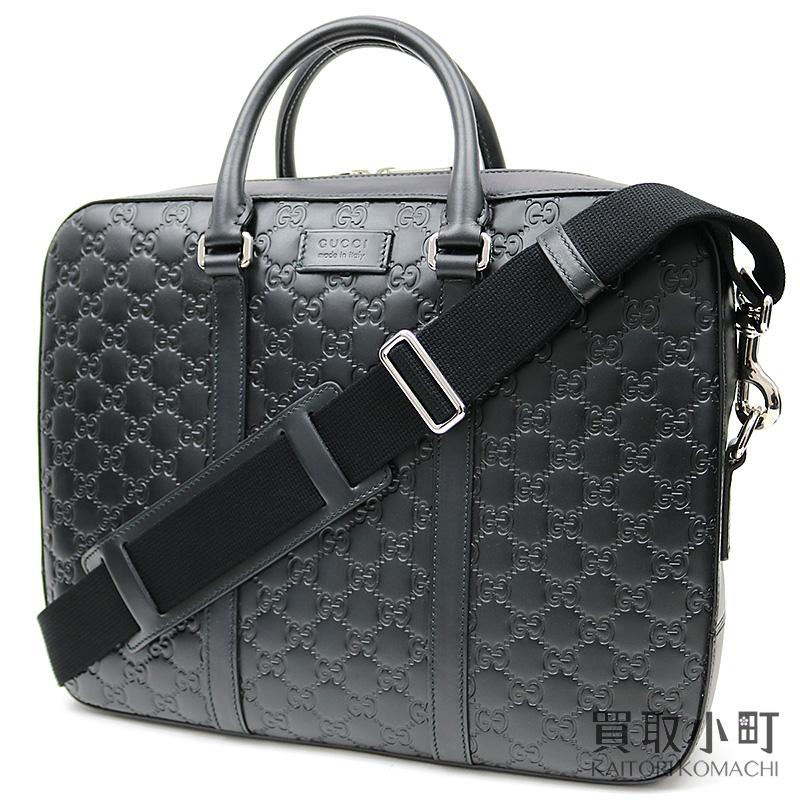 d1080f9db4bfc1 435322 Gucci Gucci signature briefcase black GG emboss calfskin zip top  2WAY shoulder business bag dispatch ...