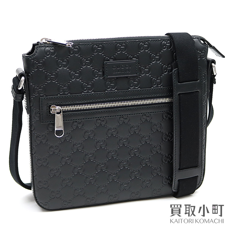 109831d03 KAITORIKOMACHI: Take a Gucci Gucci signature leather messenger bag black  crossbody men shoulder bag slant; GG emboss calfskin 406410 CWCBN 1000 GG  Signature ...