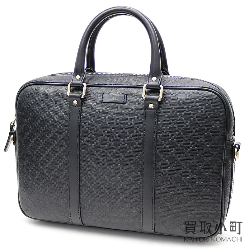 c88cc520385125 KAITORIKOMACHI: Gucci Diamante leather Small briefcase black calfskin zip  top double steering wheel business bag dispatch case PC bag man and woman  combined ...