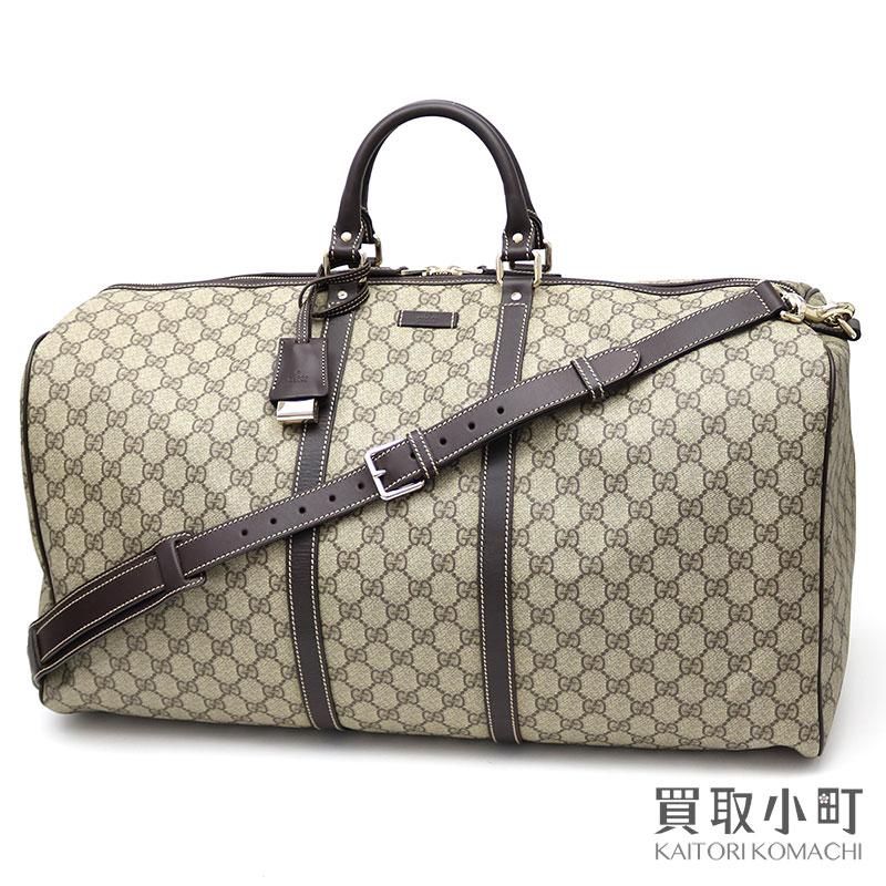 KAITORIKOMACHI  Gucci GG plus Boston bag beige X dark brown leather ... a29ea96b4e9b8