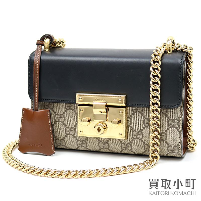 3e5ba507b3e6 ... Gucci GG スプリームスモールパドロックチェーンショルダーバッグベージュブラック X brown leather 2WAY slant;  409487 KLQJG 9785 Padlock small shoulder bag ...
