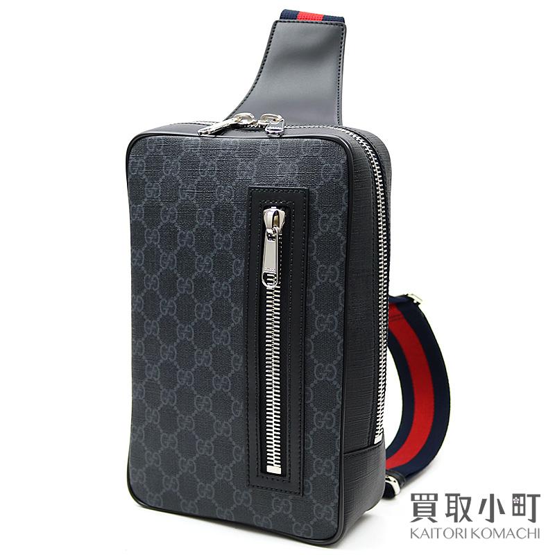Take Gucci software GG スプリームベルトバッググレー X black crossbody bag sling shoulder  slant; 478325 men\u0027s K9RRN 1095 Black Gucci Signature Crossbody Bag