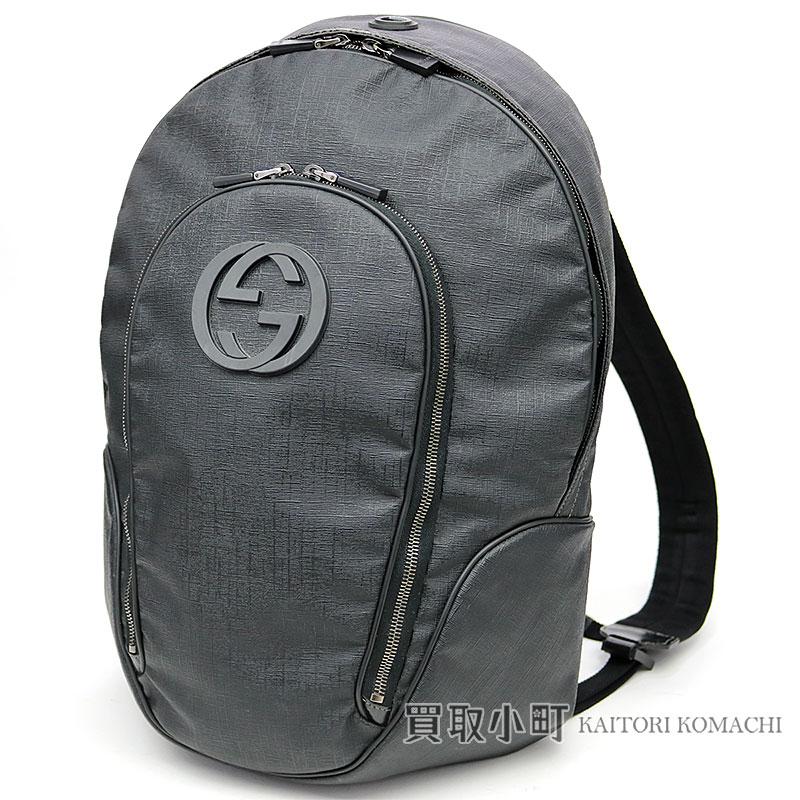 a50968fa2aa KAITORIKOMACHI  223705 Gucci backpack GG logo black coating canvas ...