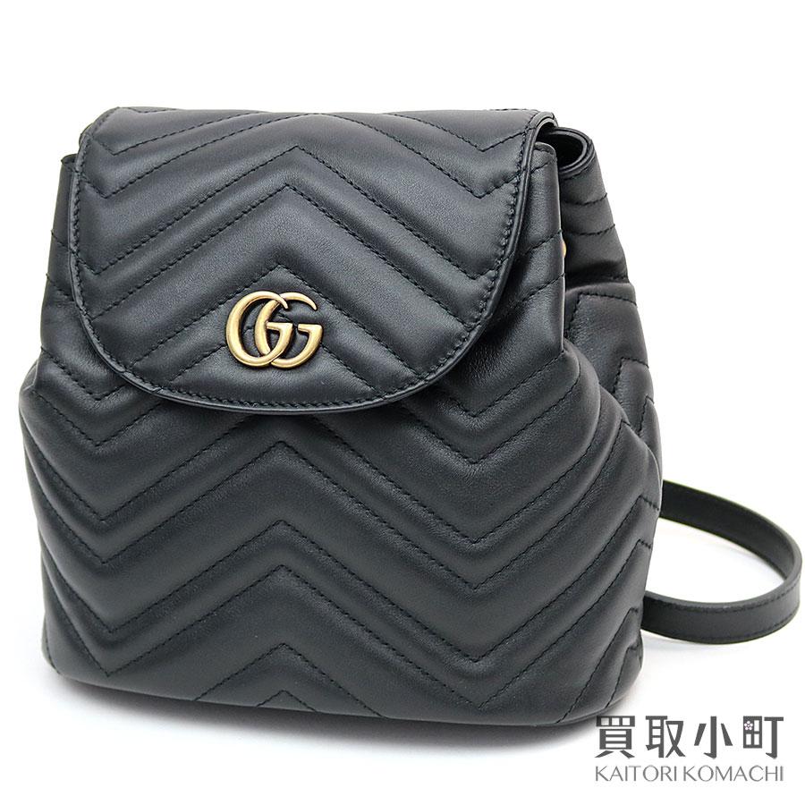 2388d2a6f6a Gucci GG マーモントキルティングレザーバックパックブラックダブル G GG stitch rucksack Chevron draw  string 528129 DRW4T 1000 GG Marmont matelasse Back Pack