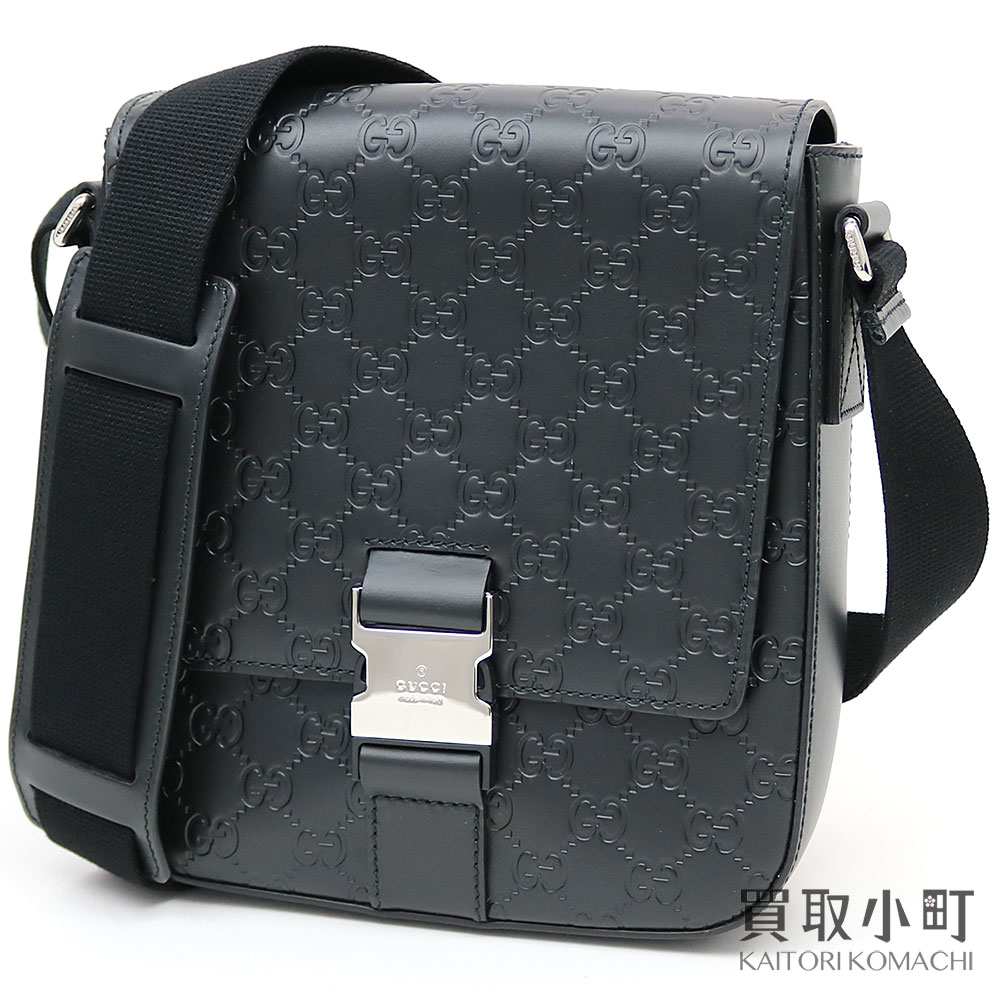 1c56a3624 KAITORIKOMACHI: Take Gucci Gucci signature leather messenger bag black GG  calf slant; men's shoulder Gucci sima 473877 CWCBN 1000 SIGNATURE LEATHER  SHOULDER ...