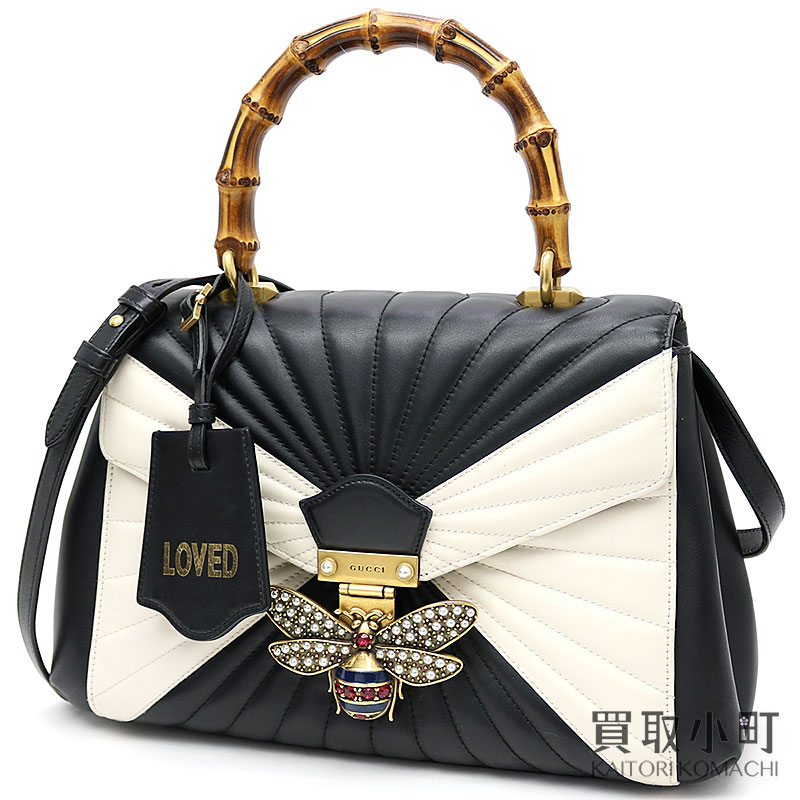 Gucci queen marguerite leather top steering wheel bag black X white  quilting bamboo steering wheel 2WAY shoulder B bee 476531 D8GBT 8350 QUEEN